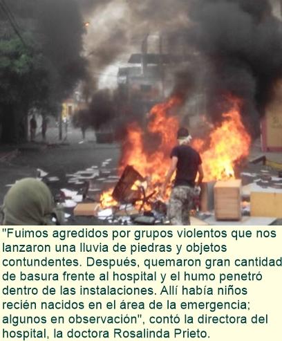 Grupos Violentos atacan hospital materno en Caracas.