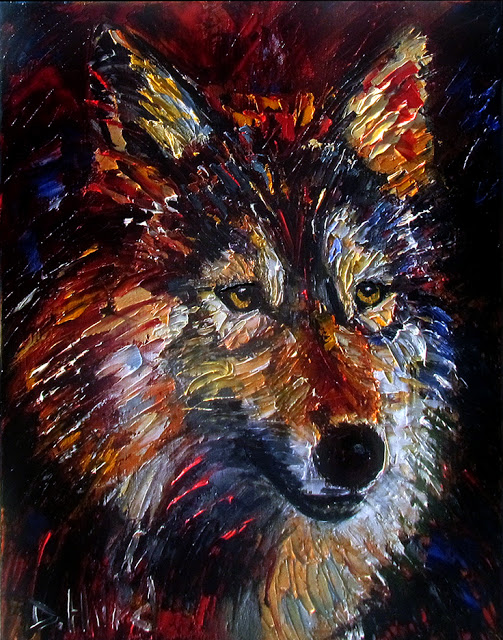 Daily painters abstract gallery wolf wild animal art for Animal oil paintings