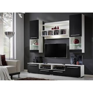 Black Gloss Living Room Furniture - Black and White