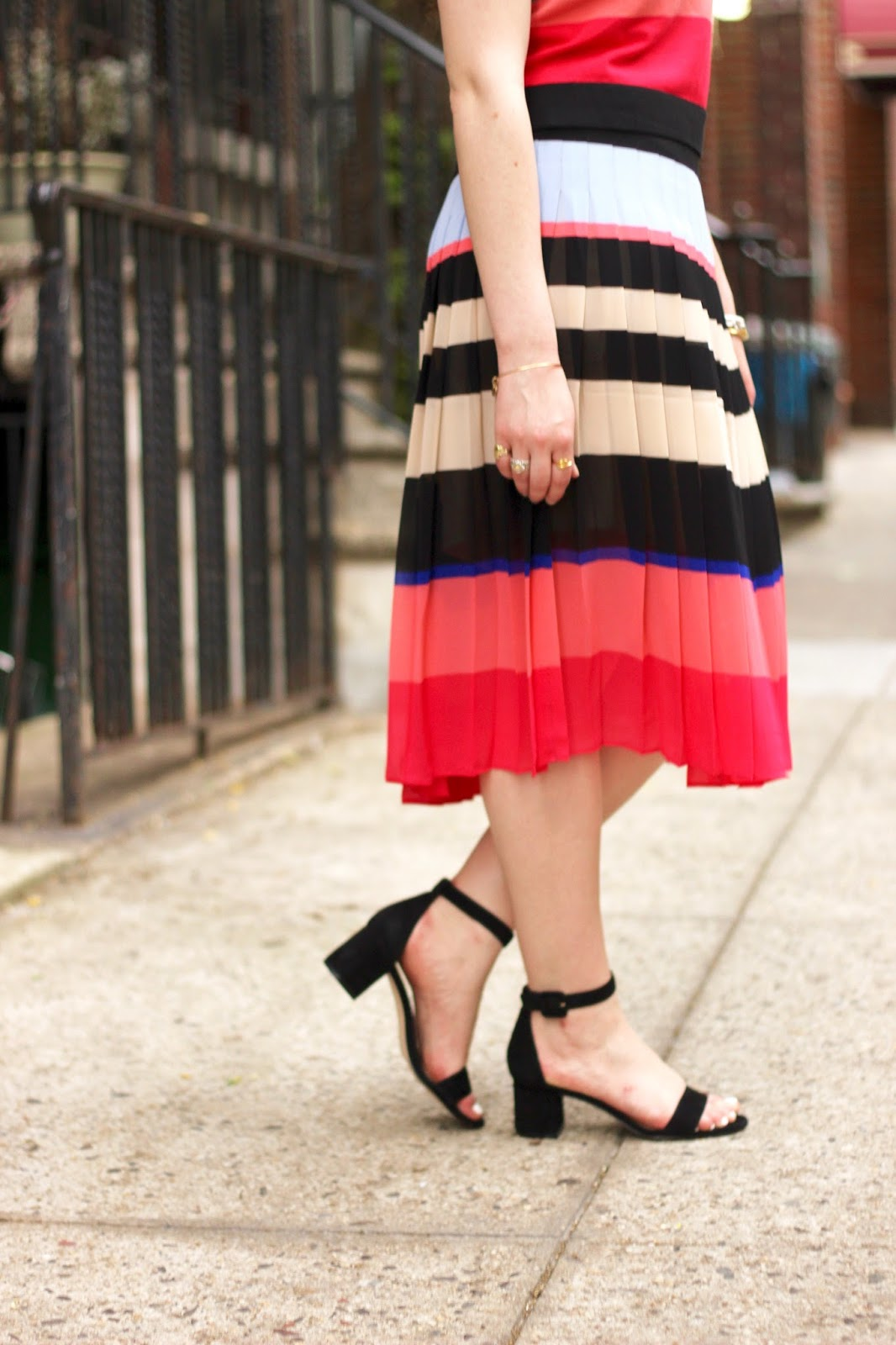 rainbow pleated midi skirt