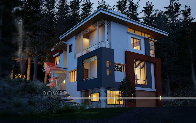 3d architectural exterior view,Ultra Modern Home