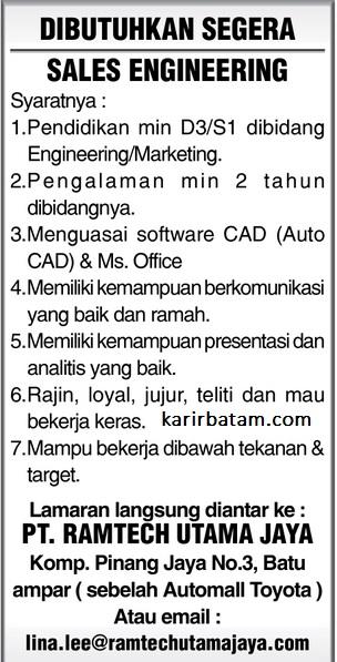 Lowongan Kerja PT. Ramtech Utama Jaya