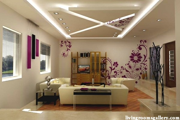 led ceiling lights for suspended ceiling of plasterboard for living room - 25 Pop False Ceiling Designs With LED Ceiling Lighting Ideas
