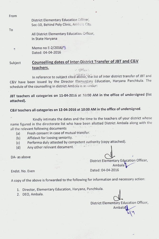 How to write a inter district transfer letter
