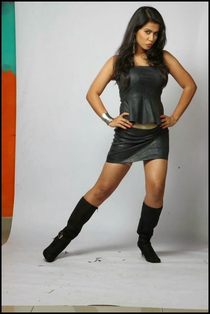 Sharmila mandre latest hot photoshoot gallery in leather dress