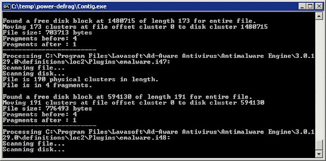Supratim Sanyal's Blog: Power Defragmenter GUI invokes Windows Sysinternals Contig for three passes