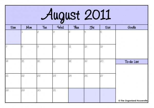 Download Wallpapers Free: August 2011 Calendar Printable