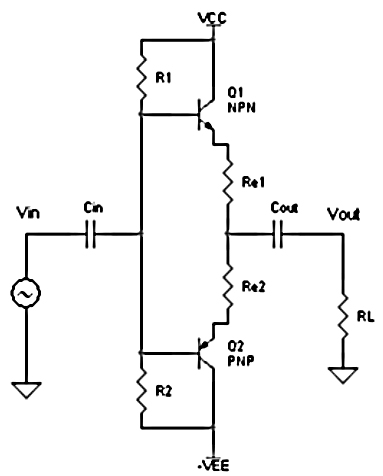 Schematic: Class B power amplifier circuit