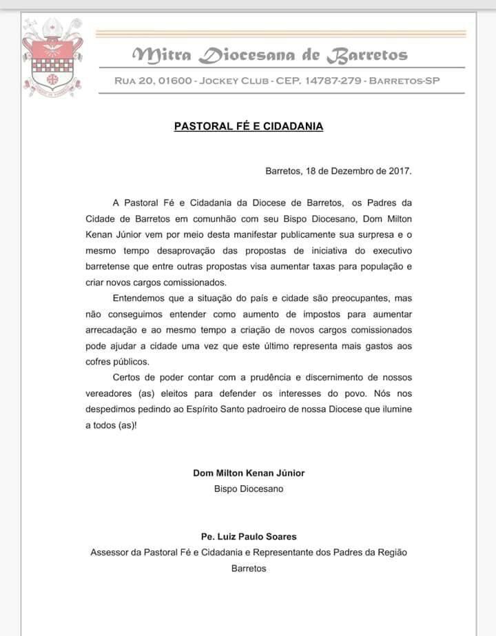 Pastoral Fé e Cidadania da Igreja católica  se manifesta contrária ao pacote de maldades do Prefeito de Barretos enviado para ser votado na Câmara Municipal nesta segunda-feira 18/12/2017