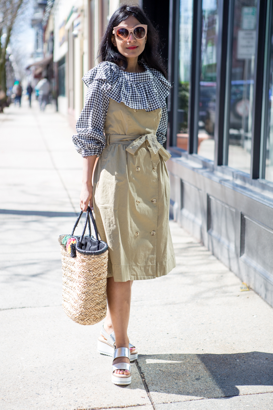 ruffles, trench dress, trendy, straw tote, pom poms, summer, spring fashion, petite style, feminine style, fashion forward, spring layers, beach tote, vacation wear, spring break, fashion over 40, j.crew