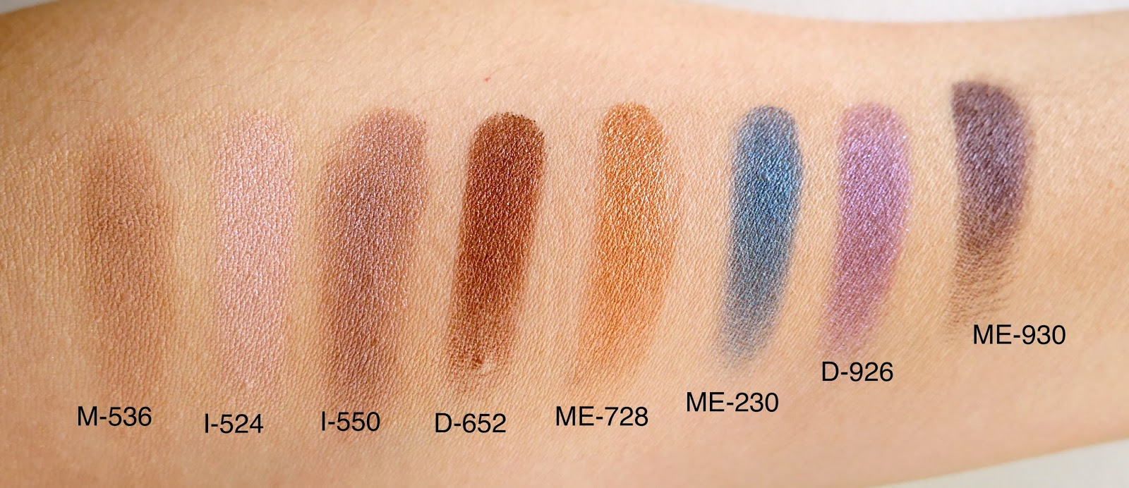 make up for ever artist shadow swatches