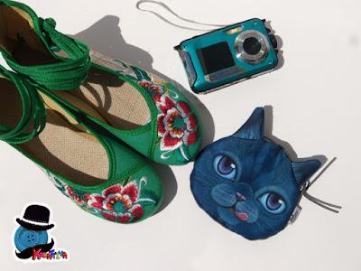 sacchetto gatto con scarpe basse ricamate