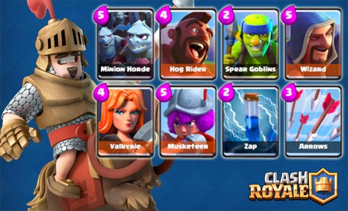 Strategi deck Hog Rider+Minion Horde Arena 4-7 clash royale
