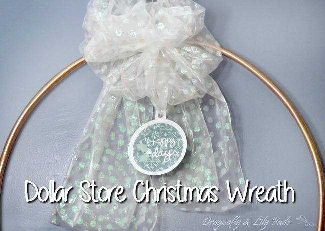 Dollar Store Craft Christmas Wreath with Happy Holidays ornament