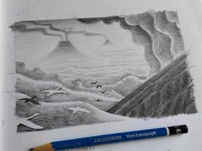 small planning drawing of a volcanic landscape