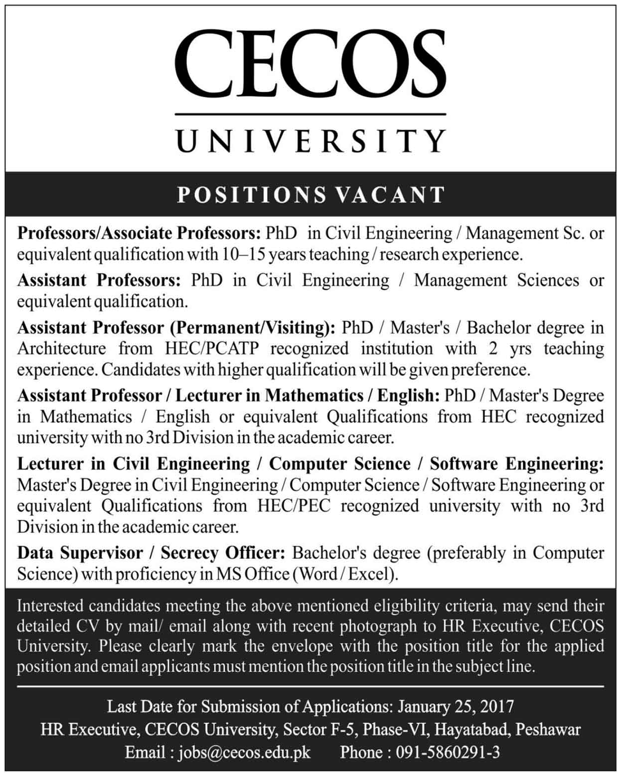 Cecos University Of Hayatabad Peshawar Jobs