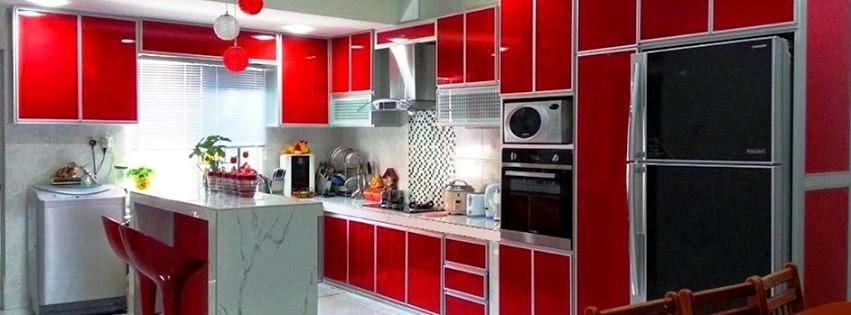 Kerana Kaler Merah Ni Memang Stail Baru Sikit Moden Katakan Kombinasi Tall Unit Utk Peti Ais Dan Oven Menambahkan Lagi Kecerian Dapur