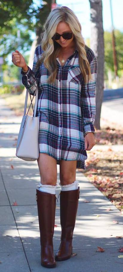 pretty cool outfit: bag + plaid shirt dress + high boots