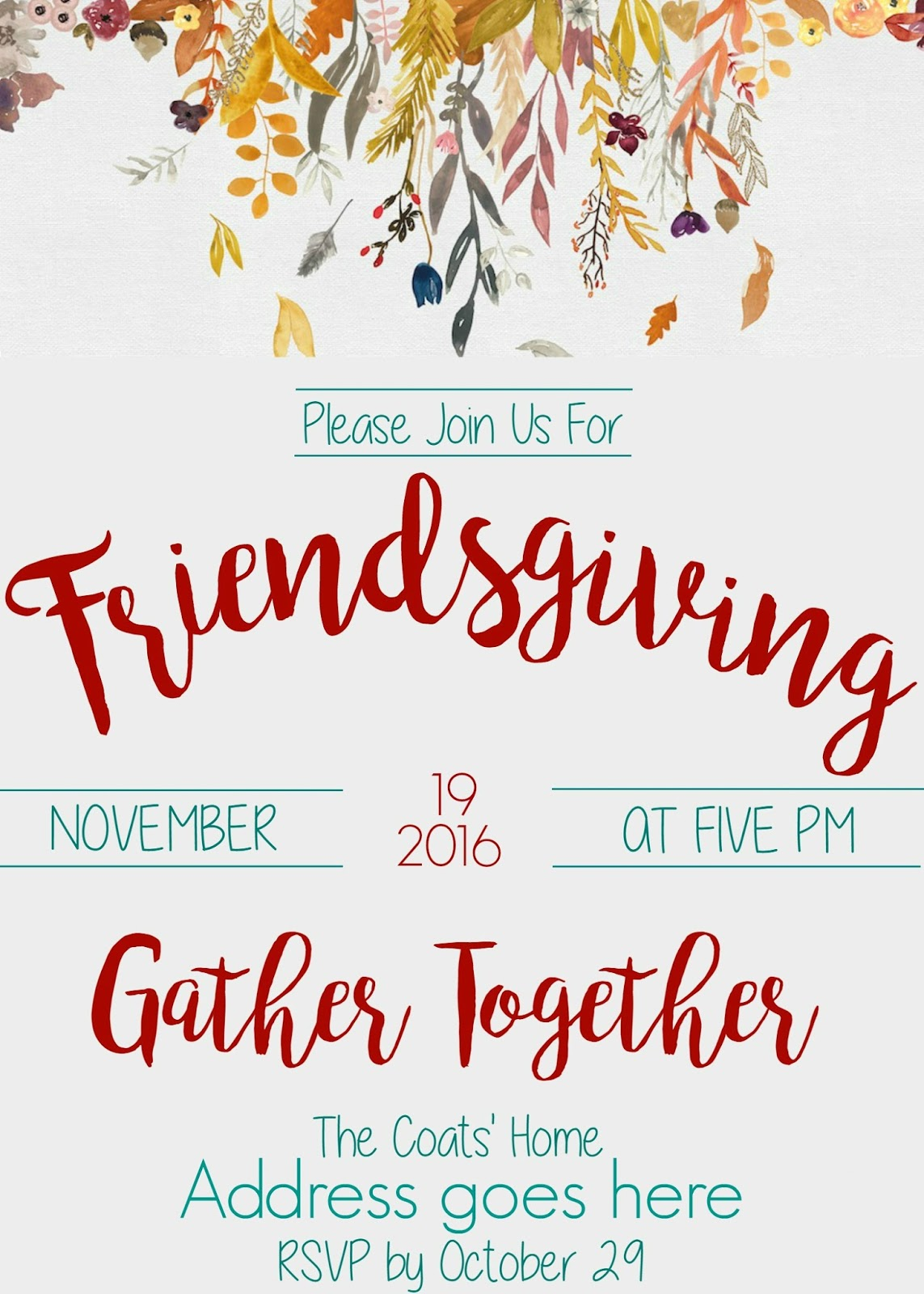 life as the coats friendsgiving invitation 2016