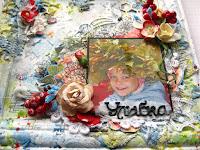 микс медиа,эмбоссинг,цветы,краски,акварель,вырубка,дочка