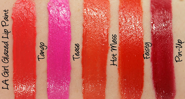 LA Girl Glazed Lip Paint - Tango, Tease, Hot Mess, Feisty and Pin-Up Swatches & Review