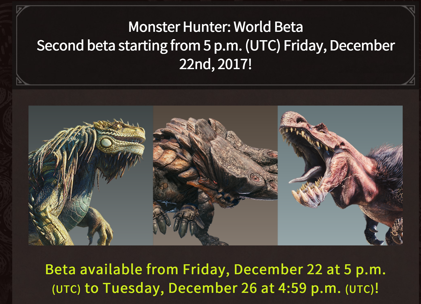 if you missed the last free beta access the monster hunter world demo will be available again world wide for playstation 4 even better this time around