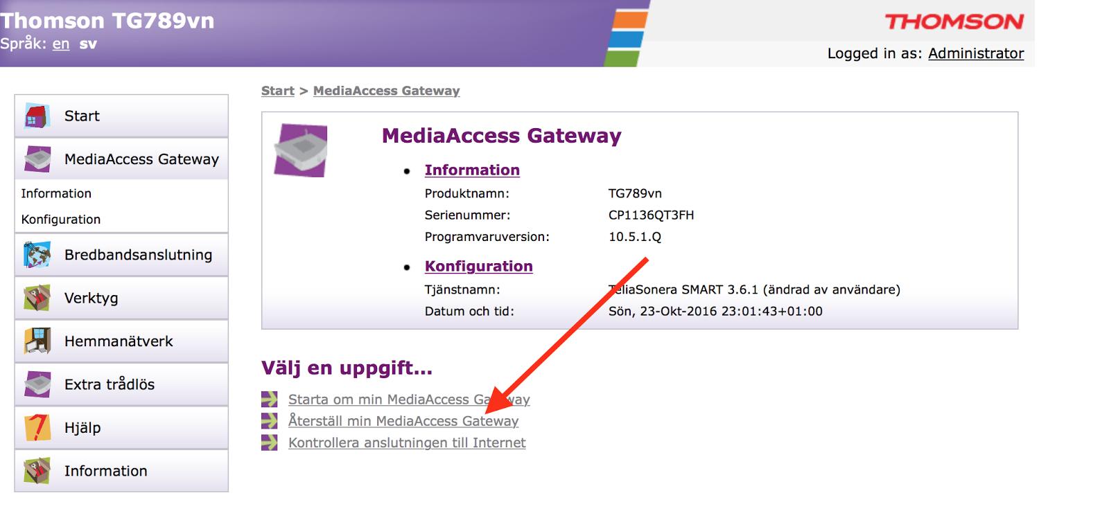 telia gateway lösenord