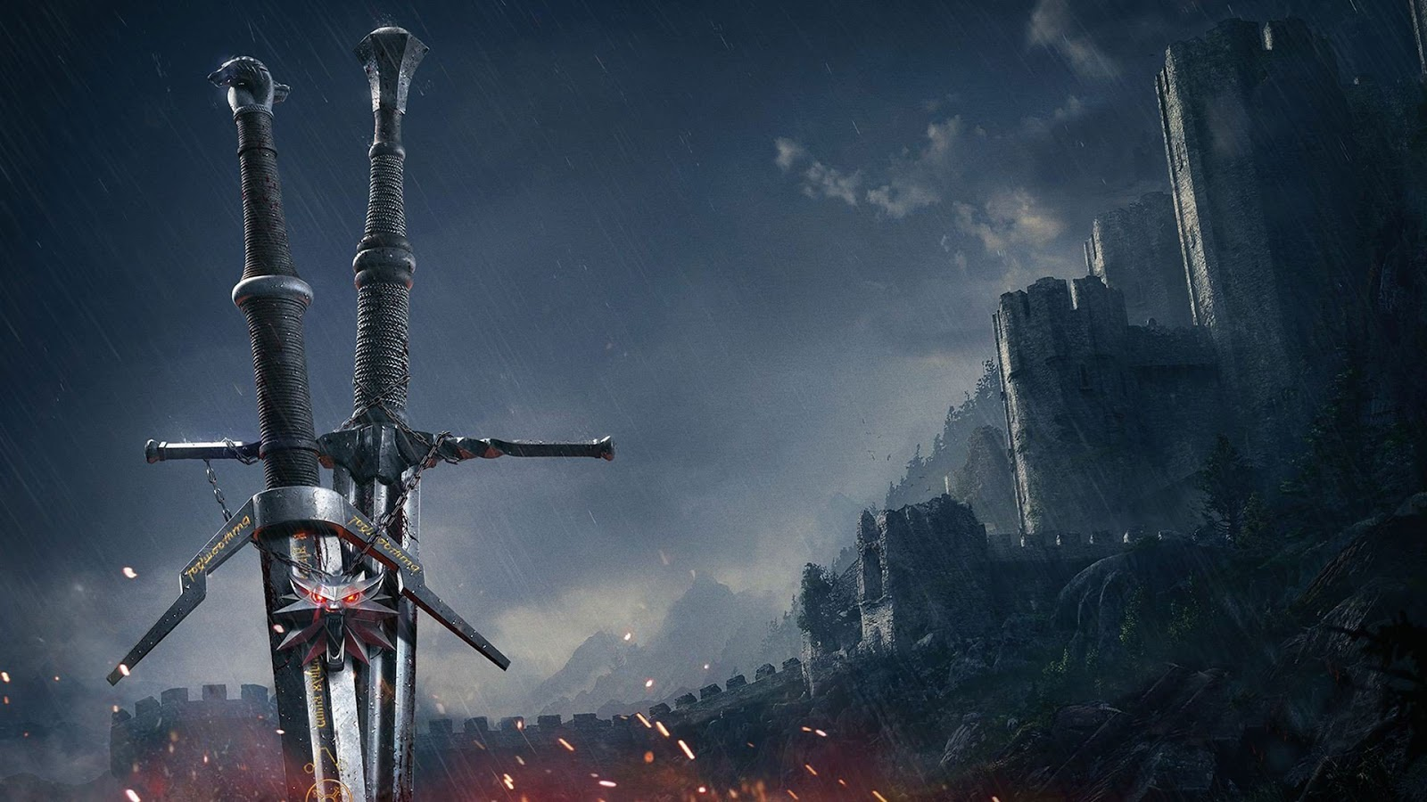 The Witcher 3 Wild Hunt Swords Animated Wallpaper