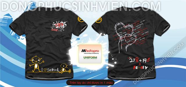 Áo lớp mảu đen cổ tròn in hình trái tim tên thành viên lớp - Mã AL73