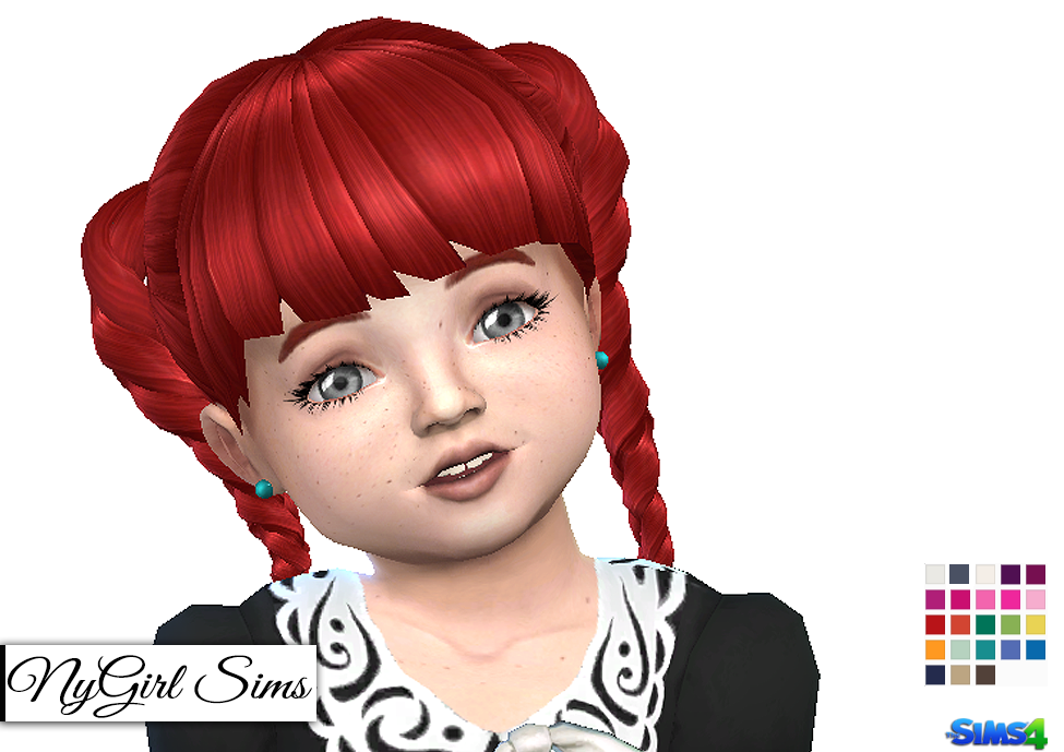 Nygirl Sims 4 Colored Pearl Toddler Earrings