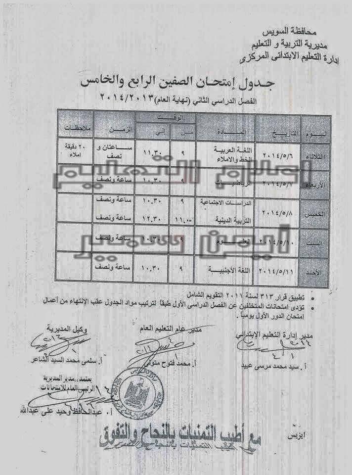 جدوال امتحانات الترم الثانى 2014 محافظة السويس جميع المراحل الدراسية 10006464_51005169910