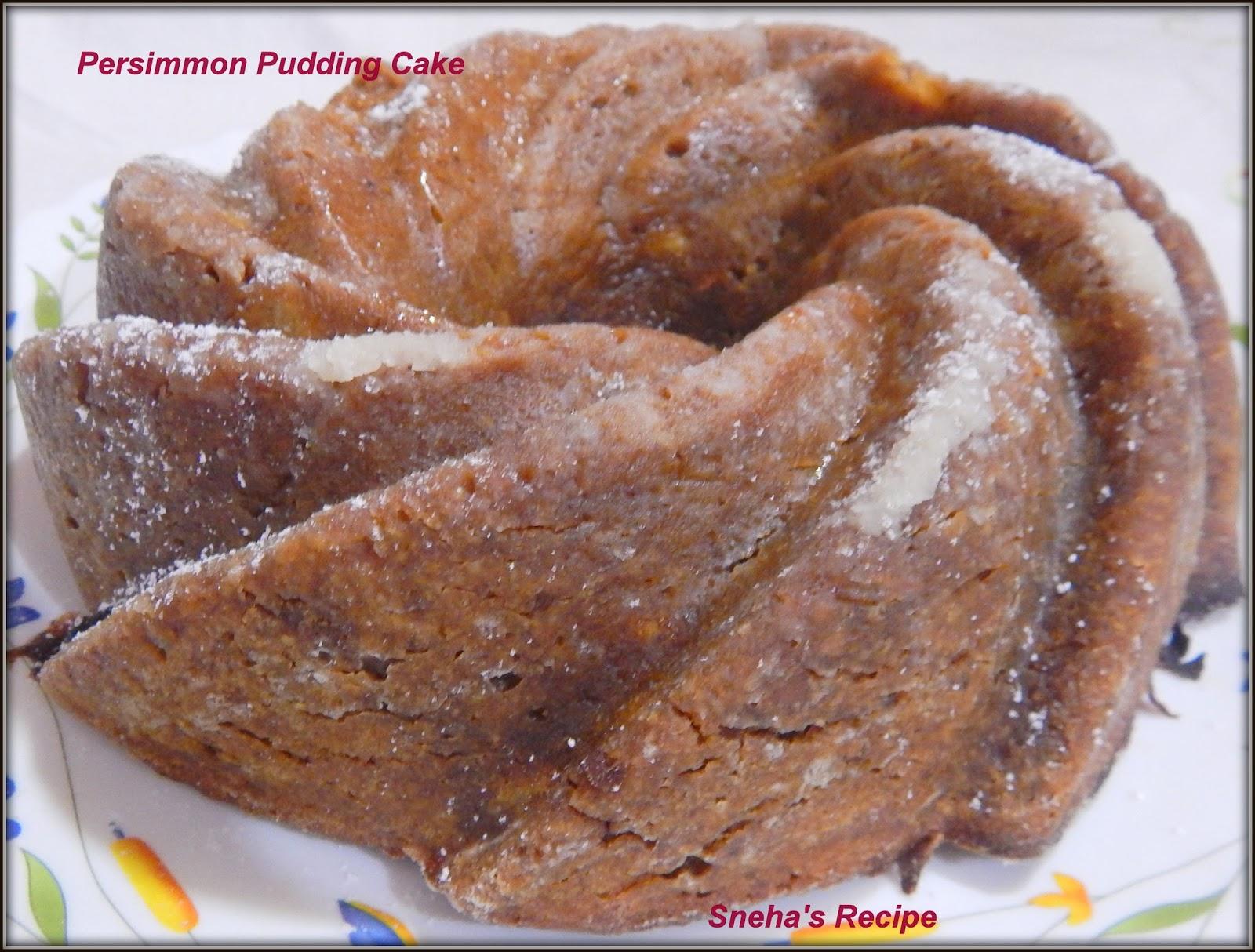 Persimmon Pudding Cake #BundtBakers - Sneha's Recipe