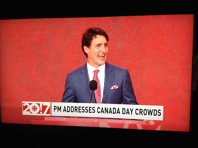 Screenshot CBC coverage Canada 150, Ottawa - Our Prime Minister speaks
