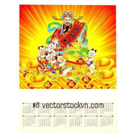 Vector Thần Tài Thiết Kế Lịch Tết.