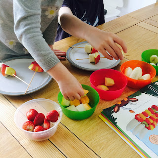 Learning motor-skills with our Gruffalo Terrible Tusks fruit kebabs