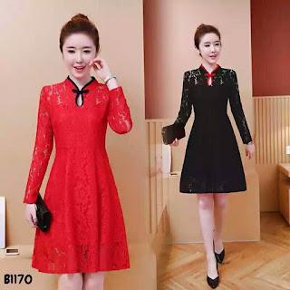 รีวิวขาย Dress เทศกาลตรุษจีนผ้าลูกไม้ลายสวยเนื้อนิ่ม