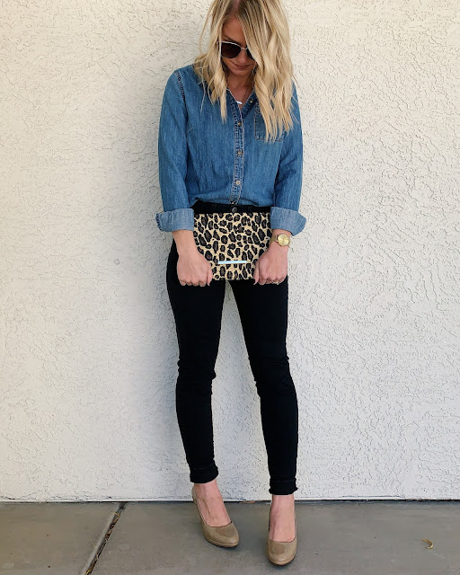 Black jeans, denim shirt and leopard print