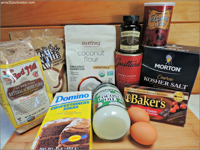 Ingredientes de las Galletas Crinkles de Chocolate y Coco
