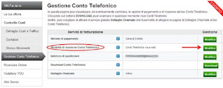 bolletta Email Vodafone