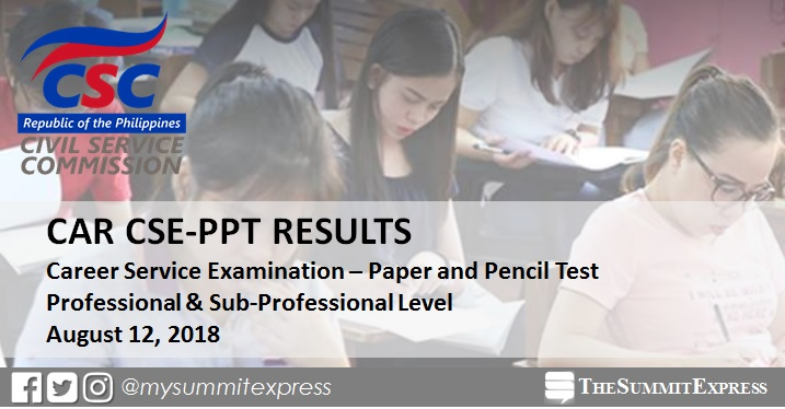 CAR Passers: August 2018 Civil Service Exam results CSE-PPT