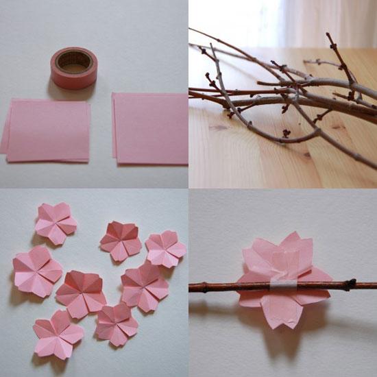 flores, flor, cuadro, cerezo, origami, papel, manualidades
