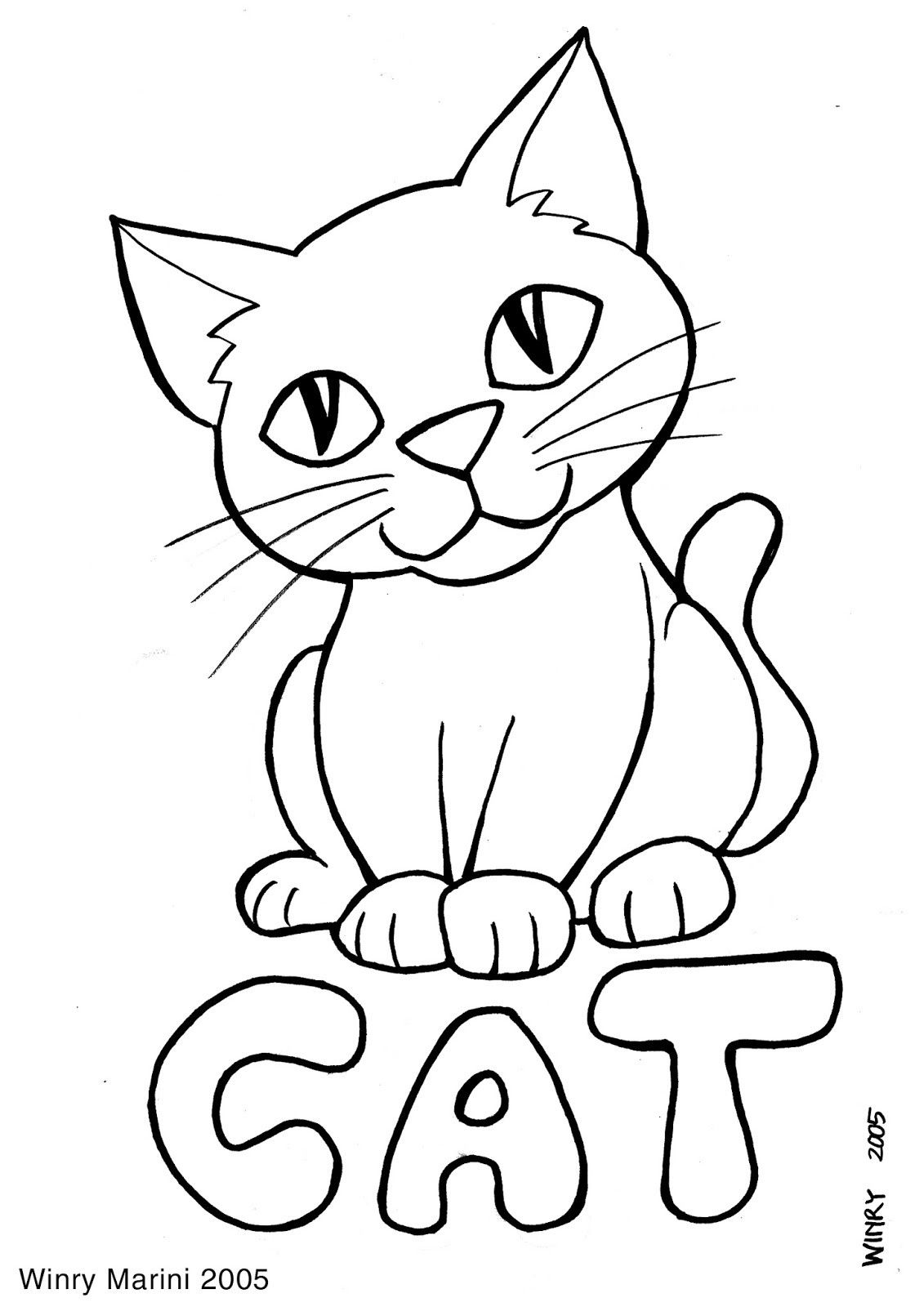 Cat Coloring Page By Winry Marini