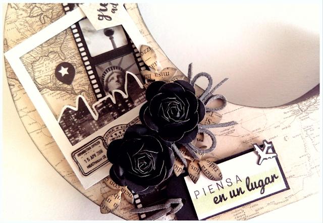 Letra decorada tematica viajera scrapbooking