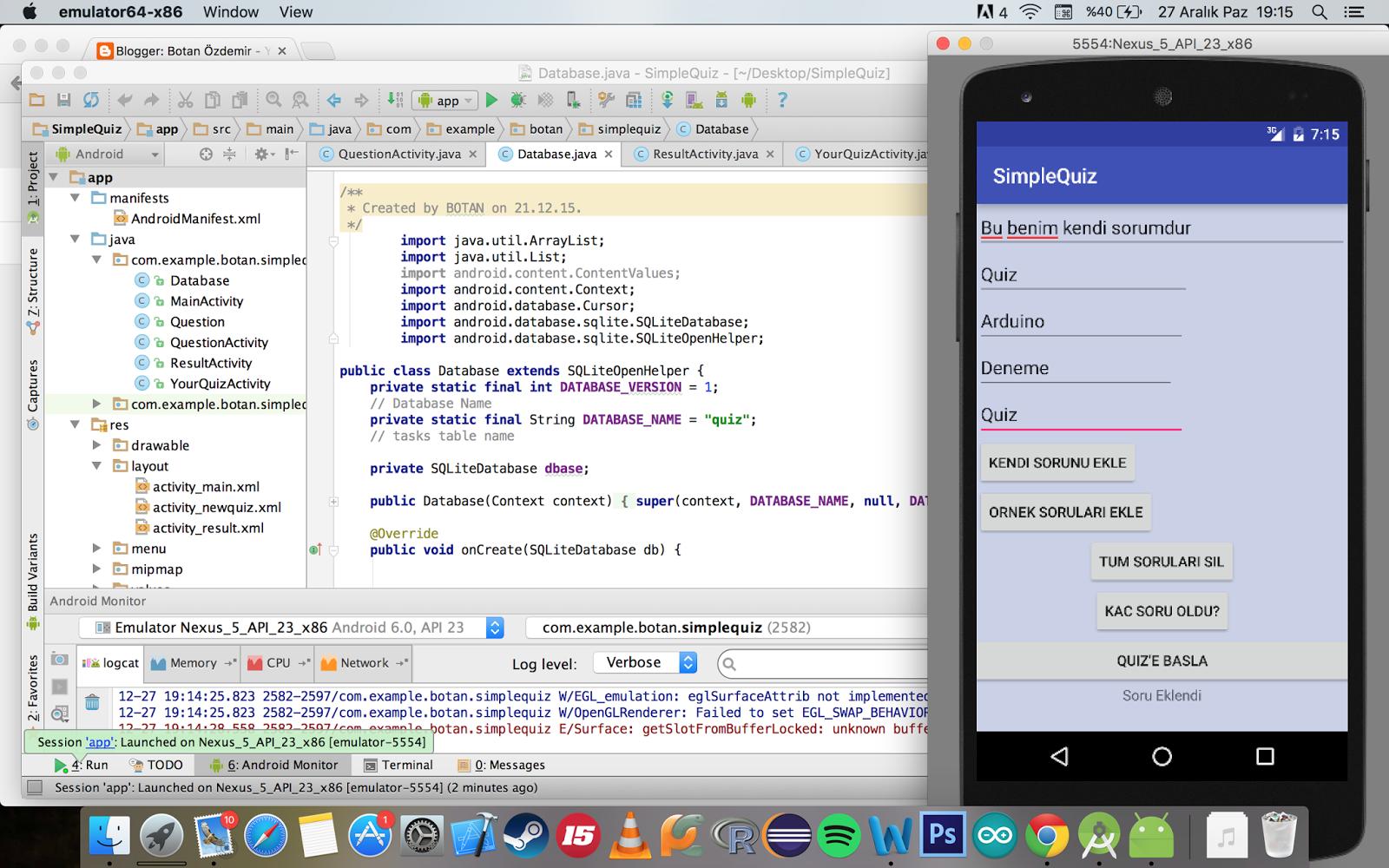 Botan Özdemir: Simple Quiz App with using Android Studio and SQLite