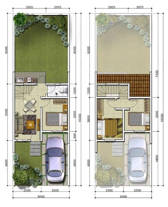 Denah rumah minimalis ukuran 5x15 meter 3 kamar tidur 2 lantai
