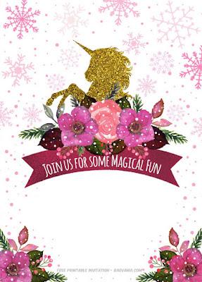 free unicorn party invitations to print
