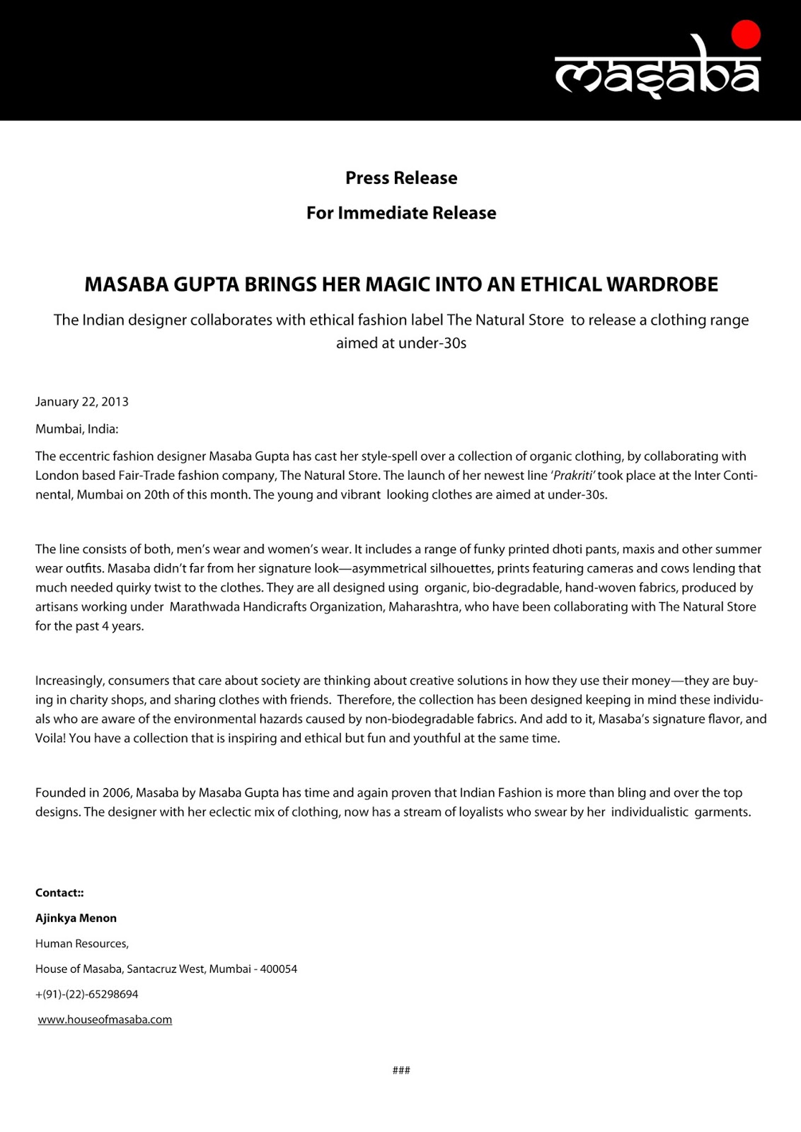 Press release – persuasive writing