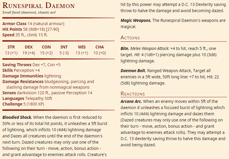 Rune Spiral Daemon (Small Fiend) - CR 5