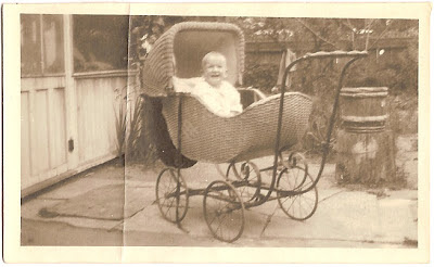 Sam Bean as child in baby carriage