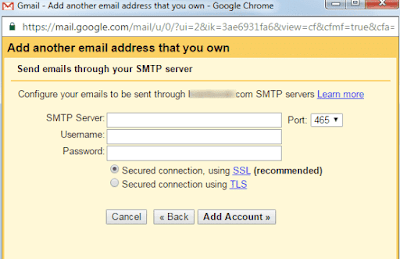 enter your custom email username and password